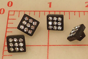 24 vintage small black glass square shank rhinestone buttons Czech 3/8