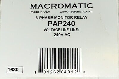 Macromatic Pap240 3 Phase Monitor Relay 240 Vac