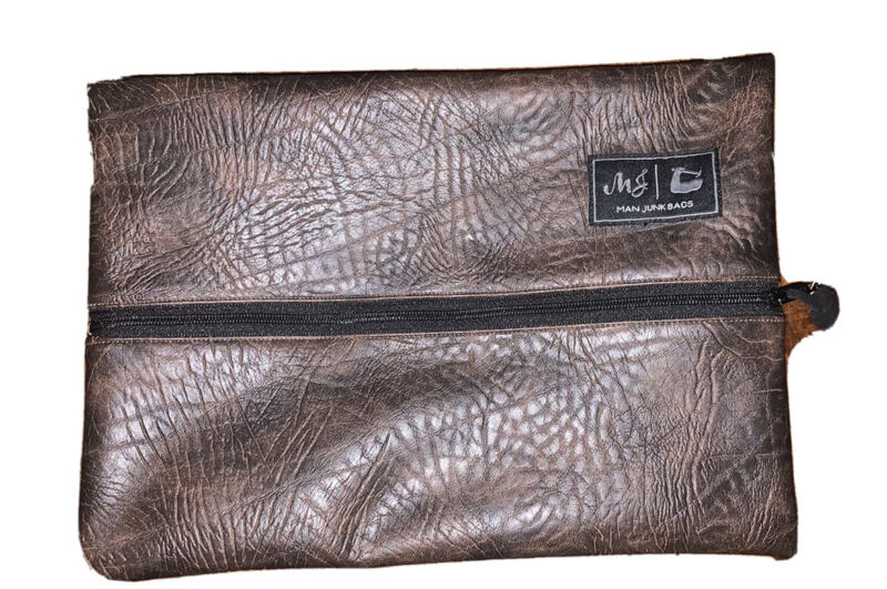 Man Junk Bags By Makeup Junkies Brown Zippered Pouch New With Tags