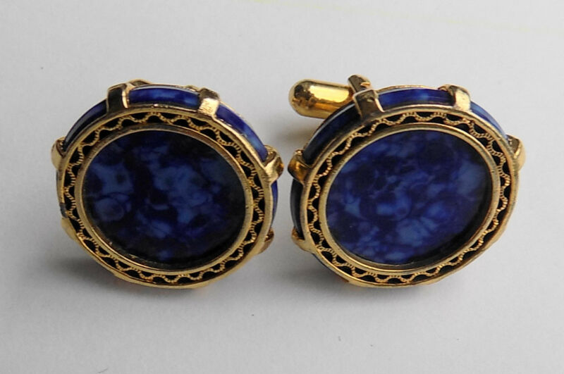 Vintage Round Blue and Gold Cuff Links Cufflinks
