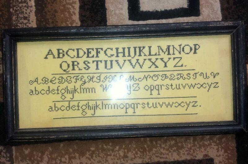 Antique Framed Silk to Linen Work Sampler Early 1808 Needlework Sampler