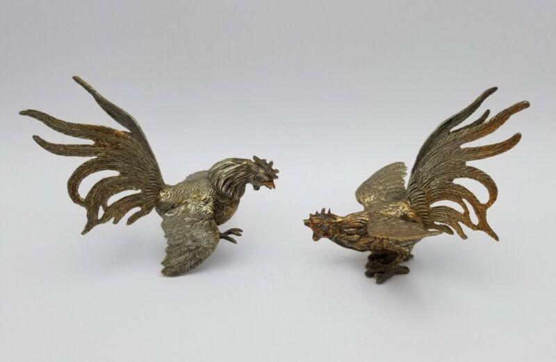 Pair Vintage Fighting Roosters Sculptures