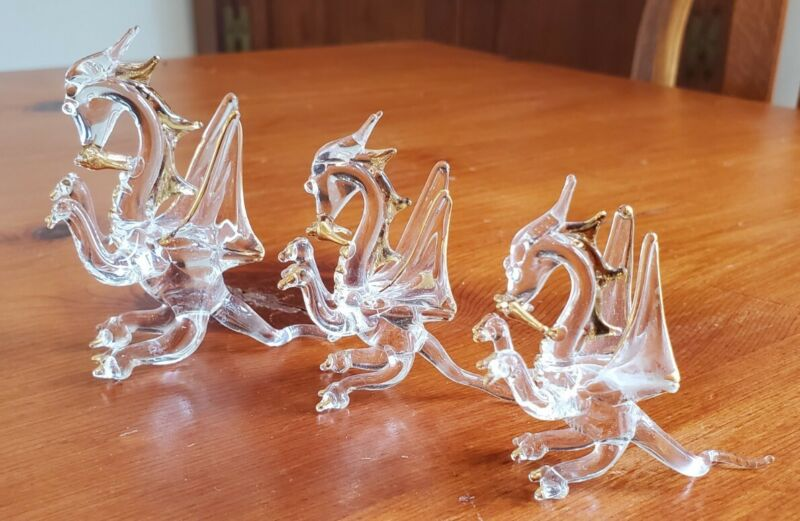 Set Of 3 Hand Blown Glass Dragons with Gold Trim
