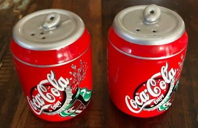 Coca Cola Coke Can Ceramic Salt and Pepper Shakers