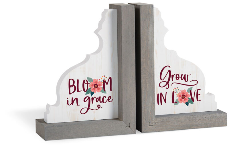 Bloom In Grace Grow Love Floral Grey 7 x 5 MDF Wood Decorative Bookends