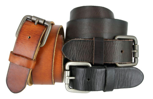 "Mens Casual Full Grain Genuine Cowhide Leather Jean Belt, 1-1/2"" Wide"