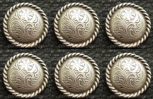 "Set of 6 WESTERN HORSE TACK SADDLE ANTIQUE ROPE EDGE CONCHOS 5/8"" ""screw back"""