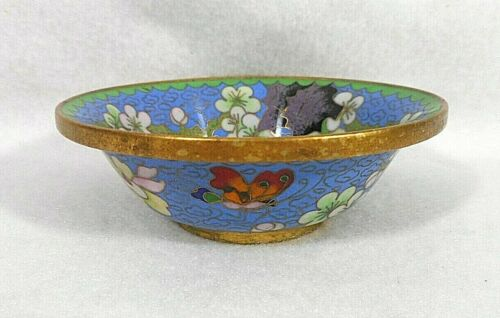 Antique Chinese Cloisonné Bowl with Floral Design and Butterfly