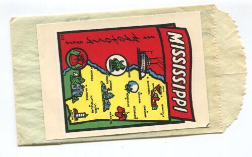 MISSISSIPPI  The Magnolia State vintage unused travel decal #123 Baxter Lane f/s