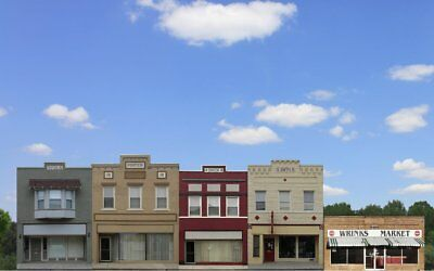 #900 O  COMMERCIAL FRONTS SET #1 - five background buildings  *FREE SHIPPING*