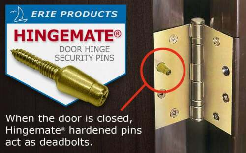 """Door Hinge Security Pins, 3 Pack Kit """"Made in USA"""""""