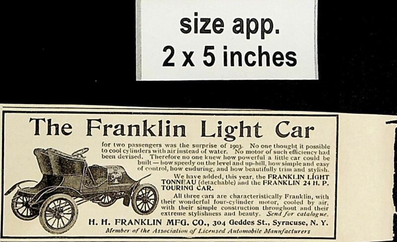 1904 Franklin Light Car Tonneau Touring Automobole Vintage Print Ad 5154