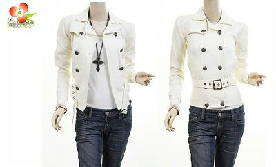 Ivory Double Breasted Fleece Belted Jacket Trench Blazer Coat Top XS S M L XL Double-breasted Top Coat