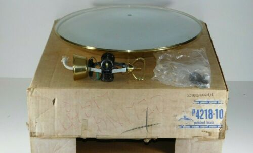 Vtg Progress Mid Century Modern Brass Glass UFO Ceiling Light Fixture Retro Lamp