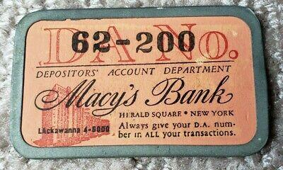 Vintage Macy's Bank Account Card, DA No. 62-200