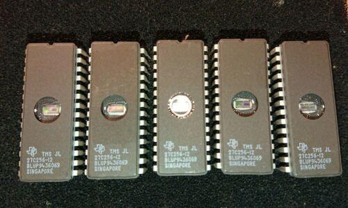 (5) TMS JL27C256-12 TI Texas Instruments UV Erasable EPROM 256K 32K x 8
