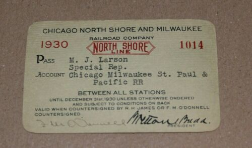 1930 Chicago North Shore And Milwaukee Railroad Company Pass