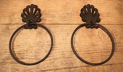 Ornate Crown Fleur De Lis Towel Ring Brown Cast Iron Set of Two  0170-11603