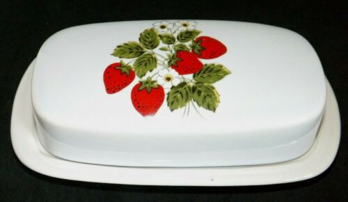 Vintage McCoy 1/4# Butter Dish with Strawberry Country Lid Cover 7013 USA