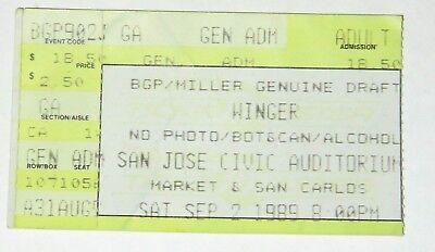 WINGER CONCERT 1989 - Ticket Stub