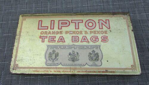Vintage Lipton Orange Pekoe & Pekoe Tea Bags Metal Gold Colored Tin Box