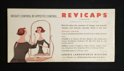 REVICAPS weight control promotional card LEDERLE American Cyanamid 1950s
