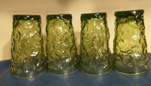 Vintage Anchor Hocking Lido Milano Green Crinkle Glass Juice Set of 4