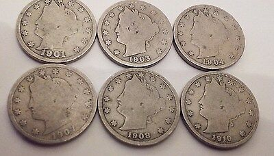 COINHUNTERS-1901, 1903, 1904, 1907, 1908, AND 1910 LIBERTY HEAD V NICKELS,