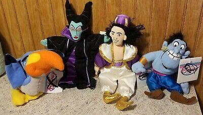 Lot of 4 Disney Store Mini Bean Bag Plush Dolls W/Tags (Aladdin, Maleficent)