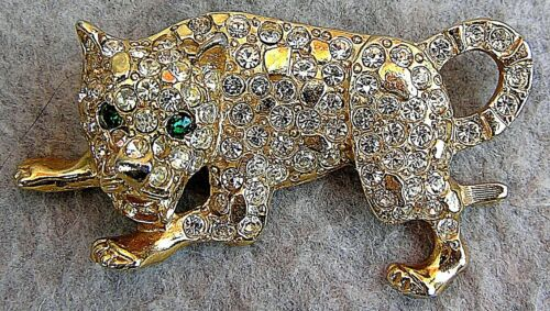 Magnificent Rhinestone Loaded Wild Cat Pin Leopard Cougar Mountain Lion ??
