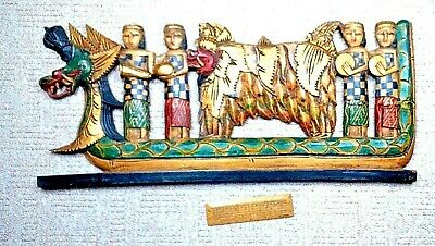 Vintage Bali Naga Boat Decorative Panel