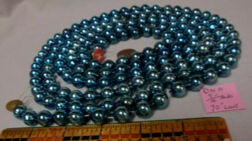 "Christmas Garland Mercury Glass Blue 90"" Long 7/16"" Beads DN10 Vintage"
