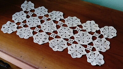 VINTAGE / ANTIQUE TABLE OR DRESSER RUNNER, HAND MADE CROCHET C1930