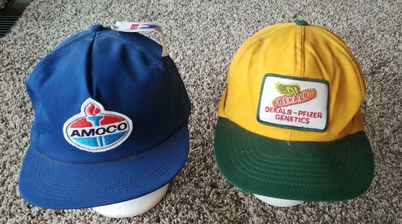 2 Vtg DeKalb Amoco Patch Earflap Trucker Hat Winter Farm Cap USA