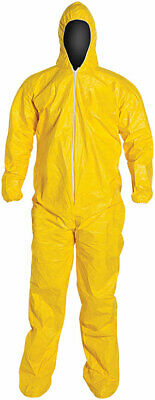Dupont Tyvek Tychem Qc127s Chemical Hazmat Coverall Hood Suit W Elastic 12 Pack