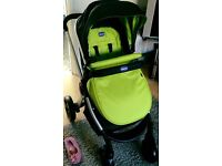 Chicco lime green pram