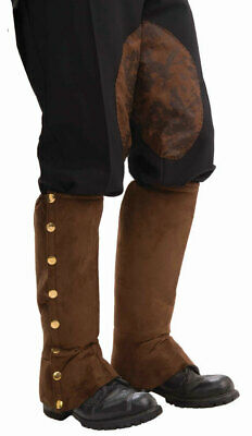 Steampunk Brown Spats Boot Leg Covers Costume Adult Prop Victorian Cosplay