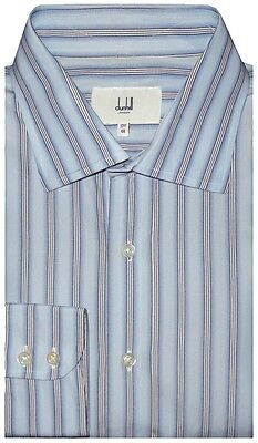 MINT PREOWNED DUNHILL LONDON LIGHT BLUE WHITE BLACK STRIPE DRESS SHIRT 44 17.5