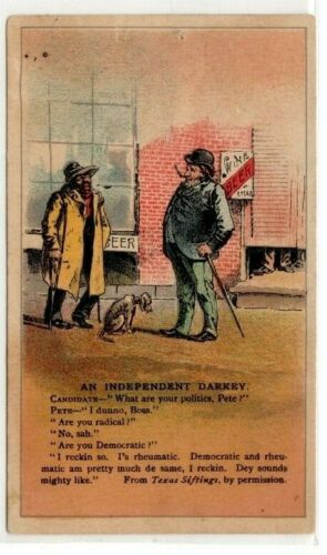Texas Siftings  Coffee  Black Americana Satire Vintage Trade Card