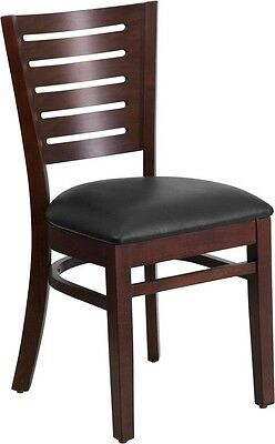 Slat Back Walnut Wood Finish Restaurant Chair With Black Vinyl Seat