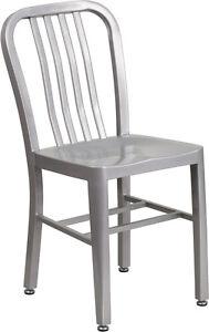 Merveilleux Industrial Style Silver Metal Restaurant Chair   Indoor Outdoor Restaurant  Chair