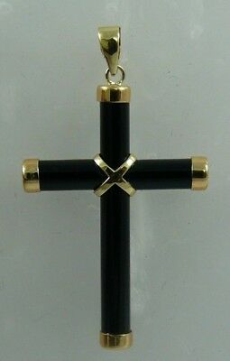 Black Onyx Cross Pendant with 14k Yellow Gold
