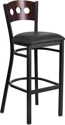 Black Decorative 3 Circle Back Metal Restaurant Barstool - Walnut Wood Back