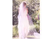 "Simple tulle boho veil - chapel length 90"" - Ivory"