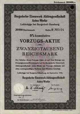 Bergedorfer Eisenwerk Astra Werke AG 1936 Lohbrügge Hamburg 20.000 RM Alfa Laval
