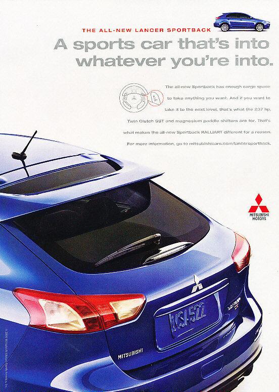 2010 Mitsubishi Sportback - Lancer - Classic Vintage Advertisement Ad D67