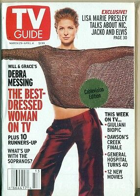 Tv Guide  2003   Debra Messing Cover   Lisa Marie Presley   Cablevision Edition