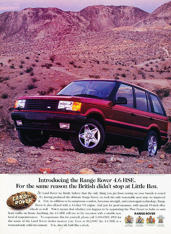 1996 Range Rover 4.6 HSE - little ben - Vintage Advertisement Ad A22-B