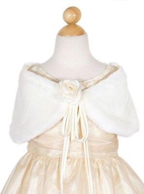 Ivory Princess Fur Shawl Flower Girl Formal Gown Wedding Winter Communion -