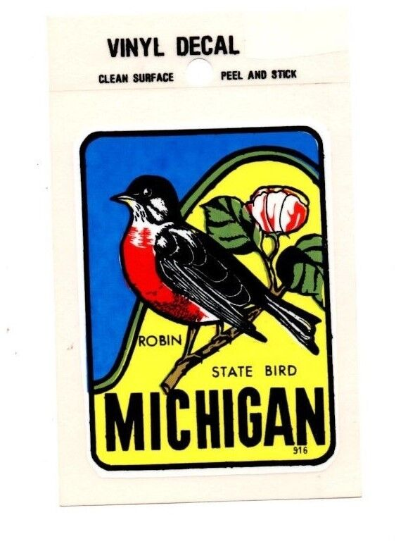 Lot of 12 Michigan State Bird The Robin Luggage Decals Stickers - New - Free S&H